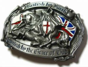 British by Birth English by the grace of God Belt Buckle + display stand. Product code: AB8
